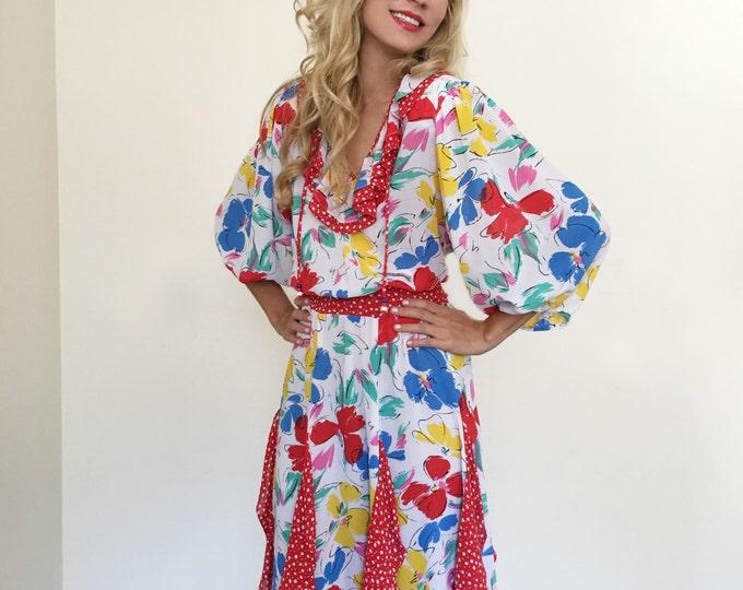 Vintage Ruffle Floral Mixed Print Dress