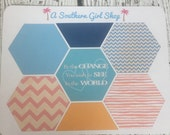 Hexagon Stickers for inkWELL Press Planner (Caribbean) Bound and A5 Sizes Available