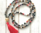 Multi color mala beads with bright coral tassel; mala beads; tassel necklace