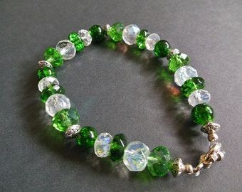 OOAK Green White & Silver Accent Glass Bead Bracelet