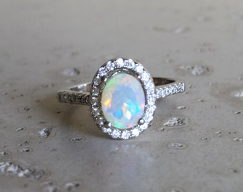 Halo Opal Engagement Ring- Natural Opal Promise Ring- Oval Opal Wedding Bridal Ring- October Birthstone Ring- Fire Opal Solitaire Ring