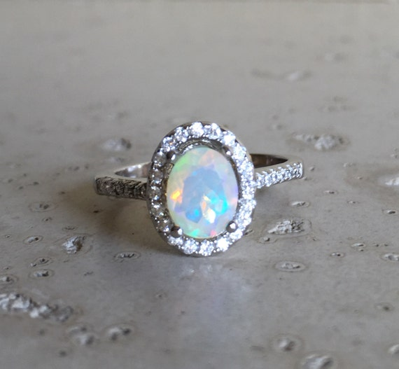 halo opal engagement ring opal promise ring oval