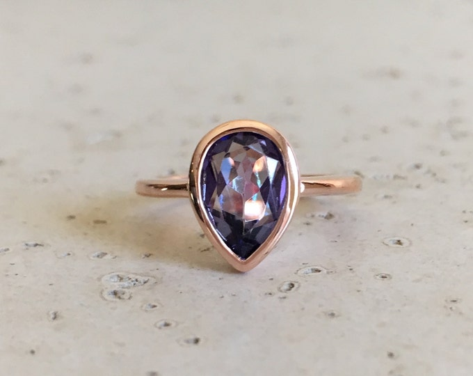 Pear Shape Mystic Topaz Ring- Rose Gold Ring- Mystical Gemstone Ring- Unique Stone Ring- Minimalistic Sterling Silver Ring- Solitaire Ring