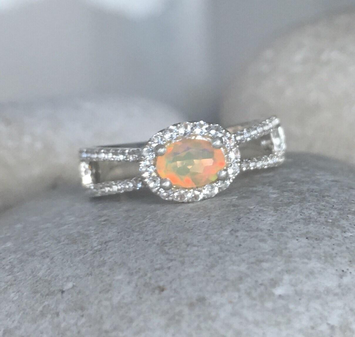 Opal Spilt Band Engagement Ring Genuine Opal Promise Ring