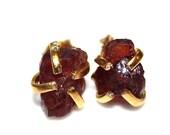 Raw Garnet Stud Earrings Organic Earrings Red Garnet Jewelry Free Form Earrings January Birthstone Prong Set Earrings Raw Gemstones