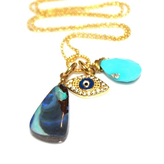Gold Evil Eye Necklace Boulder Opal Necklace Sleeping Beauty Turquoise Necklace Charm Necklace Evil Eye Jewelry Fun Necklace