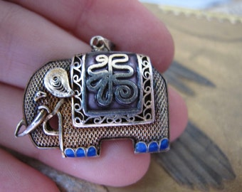 """Chinese Export Fine Silver Filigree & Enamel Charm. Good Luck Symbol Animal Pendant. Signed """"SILVER"""". Vintage Chinese Talisman of Fortune"""