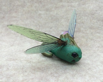 ooak Fairy friend newborn baby dragon tadpole art doll sculpture critter fae pixie dragonfly wings  silly little thing