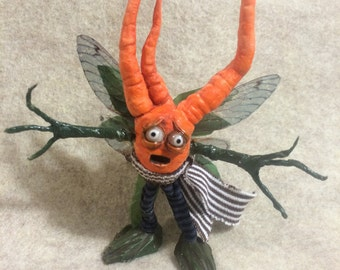 ooak male Fairy friend art doll sculpture Lucky Carrot critter fae pixie butterfly wings silly little thing