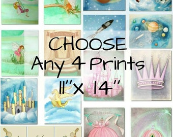 Make your own SET OF 4 Art Prints 11''x14'', Nursery Decor, Nursery Art, Baby Kids Decor, Art for Children