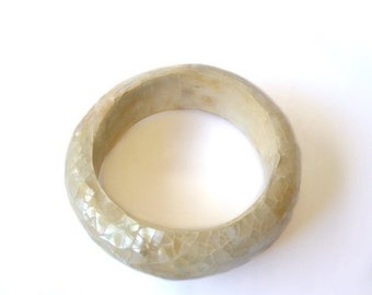 Vintage Mother of Pearl Mosaic Bangle Bracelet