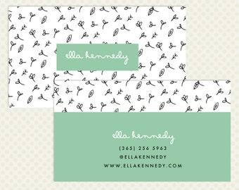 Doodle Business Card Design. Modern Branding Hand Drawn Leaves White Branding Business Card Design Mint Aqua Black Business Card Doodle