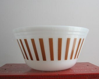 Vintage Federal Glass Brown Striped Milk Glass Bowl, Candy Stripes, Mixing Bowl, Cellectible Federal Bowl, 8""