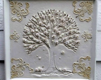 Mixed Media Shabby Rose Tree Antique Lace Shadow Box Assemblage