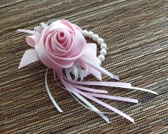 Wrist Corsage, Pink Satin Rose Corsage, bridesmaid Corsage