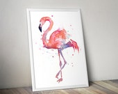 Flamingo Watercolor Painting Art Print Giclee Bird Animal Wall Art Home Decor Tropical Pink Flamingo