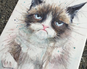Grumpy Cat ORIGINAL Watercolor Painting on Canvas 9x12