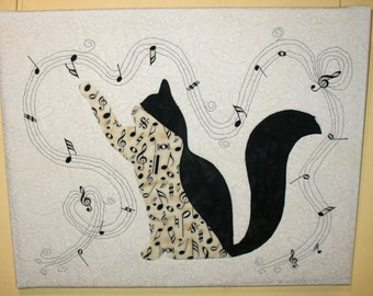 "Musical Kitty  -  Quilted Fiber Art on Canvas - 16"" x 20"""