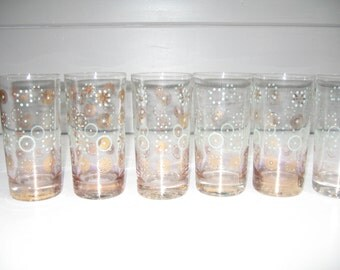 Retro Drinking Glasses, Beverage Glasses, Turquoise and Gold Design