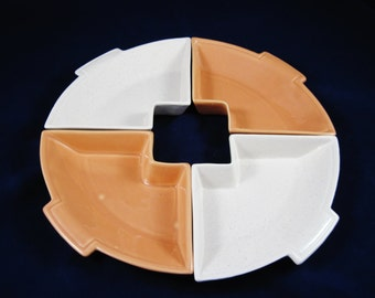 California Pottery, Lazy Susan, Salmon and White, Mid Century Modern, Southwest Design, Made in Calif. USA 232 Marked