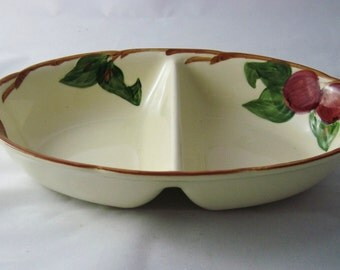 Franciscan Apple Divided Serving Bowl Earthenware Made in USA  Vintage
