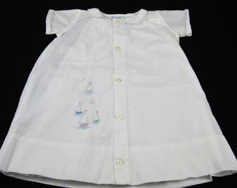 Infant Boys 2 pc Nautical Gown, Made in Switzerland 100% Cotton Embroidered Sailboats,Nathan Krauskopf