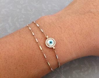 Evil eye Bracelet, Layered Bracelet, double layer bracelet, Dainty Evil eye jewelry, luck charm bracelet, celebrity inspired jewelry