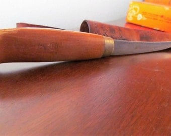 Vintage J Marttiini Fillet Knife Made In Finland with Leather Casing