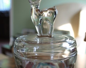 Sweet Jeannette Glass Bambi / Deer Powder Jar