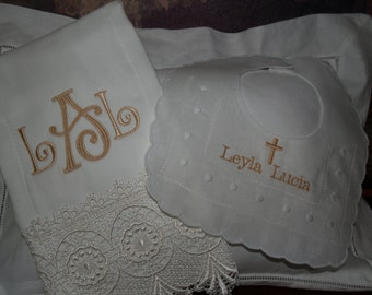 Personalized Monogram Exquisite Heriloom Lace Burp Cloth and Swiss Dot Bib Great For Christening, and Baptismals