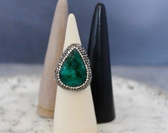 Emerald Cocktail Statement Ring Set In Sterling Silver w/ Swarovski Crystals