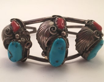 Vintage Navajo Sterling Turquoise and Coral Cuff