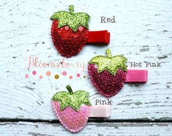 Strawberry Hair Clip - You Choose Color - Baby Hair Clip/Everyday Wear/Photo Props/Holidays/Gift - Clippies - Girl Hair Clip -Baby to Adult