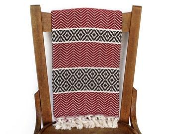 Sofa Throw Blanket Turkish Towel Handwoven Cotton Turkish Bath Towel Couch Throw Fouta Towel Shawl Pareo Wine Red Brown LALE PESHTEMAL