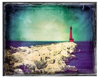 Clearance Sale - Landscape photography, lighthouse photograph, fine art photo, Michigan, nautical, beach art - Vintage Beacon