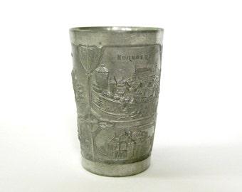 German Souvenir Cup, Vintage Souvenir Cup, Pewter Souvenir Cup, Vintage German Cup, Nurnberg Souvenir Cup, Vintage Souvenir, German Souvenir