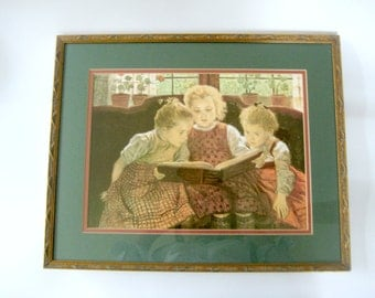 The Fairy Tale Print, Vintage Print, Three Girls Reading print, Walter Firle Print, Vintage Walter Firle Print, Vintage Fairy Tale Print