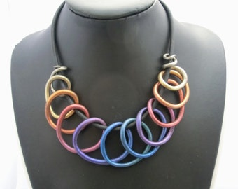 Metallic spiral rainbow choker necklace/ Fimo (polymer clay)  spirals painted with rainbow colored metal powder on rubber base chain