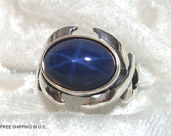 ON SALE 14x10 Star Sapphire Ring (Lab), Unisex Star Sapphire Ring (Lab) Solid 925 Sterling Silver Size 7, 8