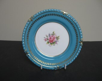 AYNSLEY Bone China 7879 TURQ & GOLD With Pink Rose Bread and Butter Plate