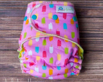 """Serged Hybrid Fitted Cloth Diaper- """"Popsicles"""" woven"""