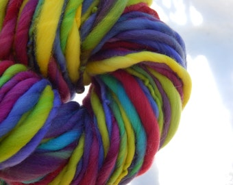 Hand spun yarn- hand painted Rambouillet wool top yarn - thick and thin, bulky - 70 yards, 3.9 oz.