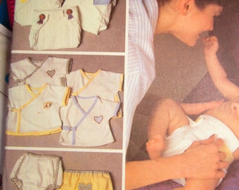 Vintage Pinless Cloth Diaper and Baby Wrap Shirt and Diaper Cover Pattern from McCalls