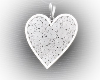 Pendant love to infinity in silver embroidery
