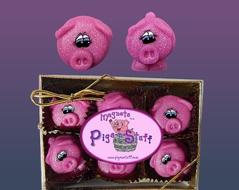 Pig Magnets Dark Pink with Glitter...Gift Box of 12