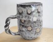 Polka dot mug, 9 oz. ,handmade mug