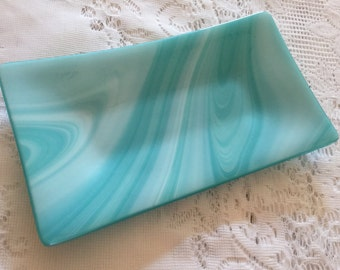 Fused Glass Dish, Turquoise White Art Glass Tray, Kiln Formed Glass Tray
