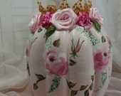 Medium  Pink Pumpkin for Halloween, HP Roses, HM ribbon roses and Leaves, crown, ecs., cottage, country, Victorian