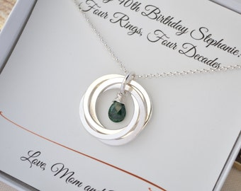 40th Birthday gift for women, 40th Birthday gift for wife, Emerald birthstone necklace, May birthstone necklace,  Best friend necklace gift