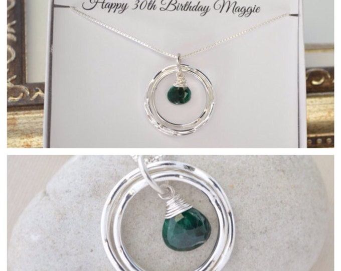 May birthstone necklace, Emerald quartz necklace, 30th birthday necklace, Birthstone jewerly, 30th birthday gift, Green quartz necklace